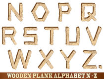 Wooden Plank Alphabet N to Z Stock Photos