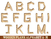 Wooden Plank Alphabet A to M Royalty Free Stock Photography