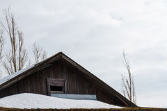 Wooden plank attic of village cottage roof Royalty Free Stock Photography