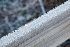 Wooden plank covered with frost Stock Photo
