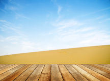 Wooden Plank Floor in a Desert Royalty Free Stock Photos