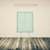 Wooden Plank Floor and Vintage Wall Brick With Window - Texture. Background stock photo