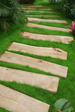 Wooden plank path stock image