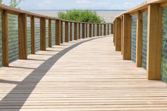Wooden plank path with safety fence Royalty Free Stock Images