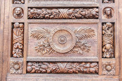 A wooden plank with a pattern. The door of the Basilica of Santa Croce, Florence stock photo