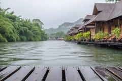 Wooden plank raft on blurred scene resort Royalty Free Stock Image