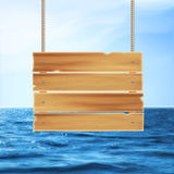 Wooden plank and sea Royalty Free Stock Photo