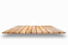 Wooden plank shelves and white background. For product display,C. Lipping Path.For product placement Stock Images
