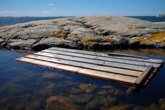 Wooden plank at Vrango coast Royalty Free Stock Images
