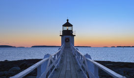 Wooden Plank walkway leading out the Marshall Point Lighthouse a stock photography