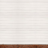Wooden plank wall, ground covered with fallen Royalty Free Stock Image