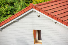 Wooden plank wall for outside insulation of house Stock Image