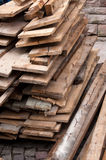 Wooden planking. With nails in a construction site Royalty Free Stock Photo