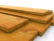 Wooden planks. Stack of Construction Wood - 3D Royalty Free Stock Images