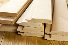Wooden planks. Wood planks are on a wooden board Stock Photos