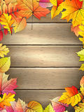 Wooden planks with autumn leaves. Royalty Free Stock Images