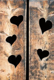 Wooden planks background with heart Stock Photos