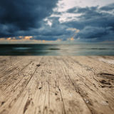 Wooden planks on the beach Stock Photography