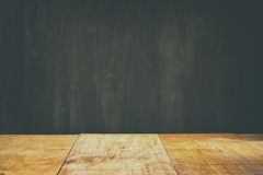 Wooden planks and black board background. ready for mock up or product placement Stock Images
