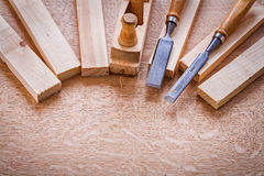 Wooden planks chisels woodworkers plane Stock Photo