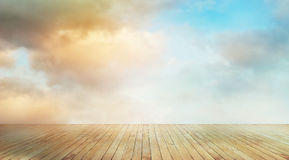 Wooden planks with colorful cloud sky nature background Royalty Free Stock Photos