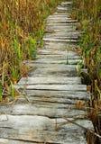 Wooden planks footbridge Royalty Free Stock Images