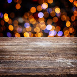 Wooden planks with golden bokeh background Stock Photography