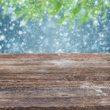 Wooden planks with golden bokeh background Royalty Free Stock Photo