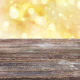 Wooden planks with golden bokeh background Royalty Free Stock Photos