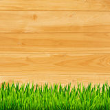 Wooden planks with grass background Stock Photography