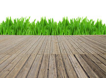 Wooden planks and grass Stock Image