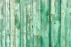 Wooden planks Green as a texture and background. green fence fragment. Copy space. Rustic style Royalty Free Stock Photos