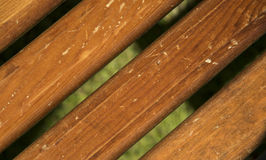 Wooden planks. On green background Stock Photos