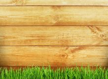 Wooden planks and green grass background. Grass wooden wood planks table green background Stock Images