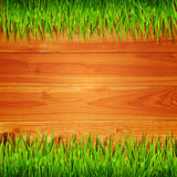 Wooden planks with green grass background. Wooden planks with green grass vector background Royalty Free Stock Photos