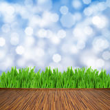 Wooden planks with green grass and blue background Stock Photo
