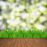 Wooden planks with green grass Stock Photos