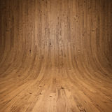 Wooden planks Room with wooden floor and walls Stock Photo