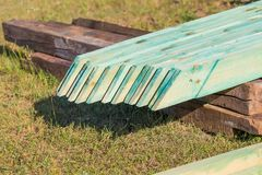 Wooden planks from sawmill for house roof construction Royalty Free Stock Photos