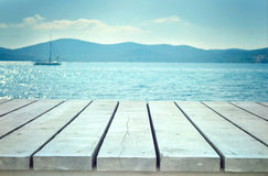 Wooden planks with sea Stock Photography