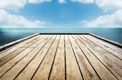 Wooden Planks Sky Background Royalty Free Stock Images