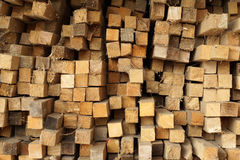 Wooden planks stacked in rows. Close up Stock Images