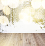 Wooden planks with winter forest background Royalty Free Stock Images