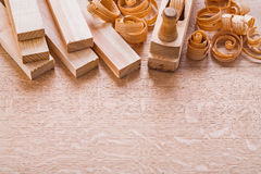 Wooden planks woodworkers plane and shavings Royalty Free Stock Photography