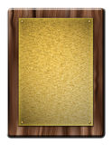 Wooden Plaque with gold plate Stock Image