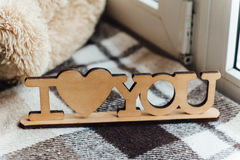 Wooden plaque , I love you Stock Image