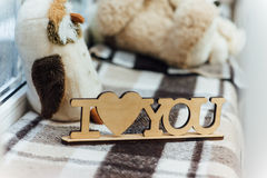 Wooden plaque , I love you Royalty Free Stock Photo