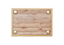 Wooden plaque in a metal frame Royalty Free Stock Photography