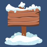 Wooden plaque in a snowdrift. Pointing board in the snow. Vector illustration. Wooden plaque in a snowdrift. Pointing board in the snow Royalty Free Stock Image