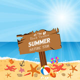 Wooden plaque with vacation to Summer nature tour Royalty Free Stock Images